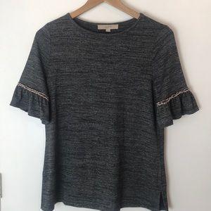Loft Heather Gray Boho Knit Top XS